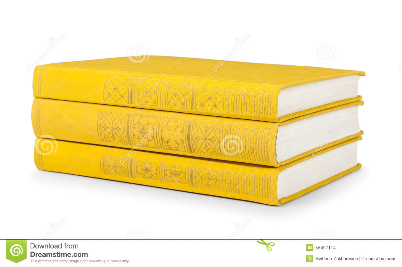 Book With Black And Yellow Cover ~ Stack of vintage books in a yellow cover stock photo