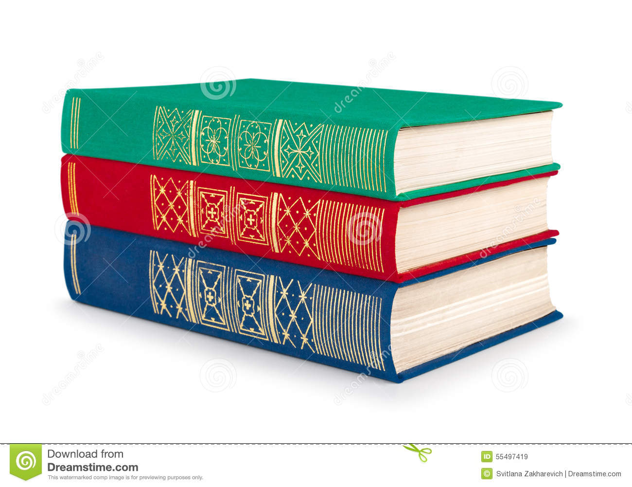 Stack Of Vintage Red, Green And Blue Books Stock Image - Image of ...