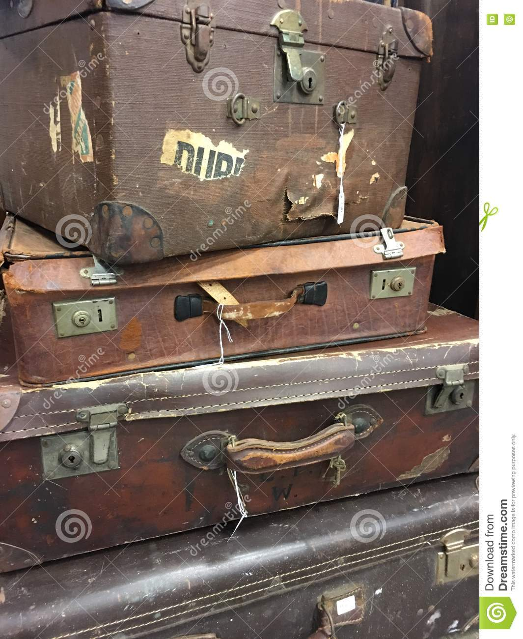Stack Of Vintage Suitcases. Stock Photo - Image: 77516915