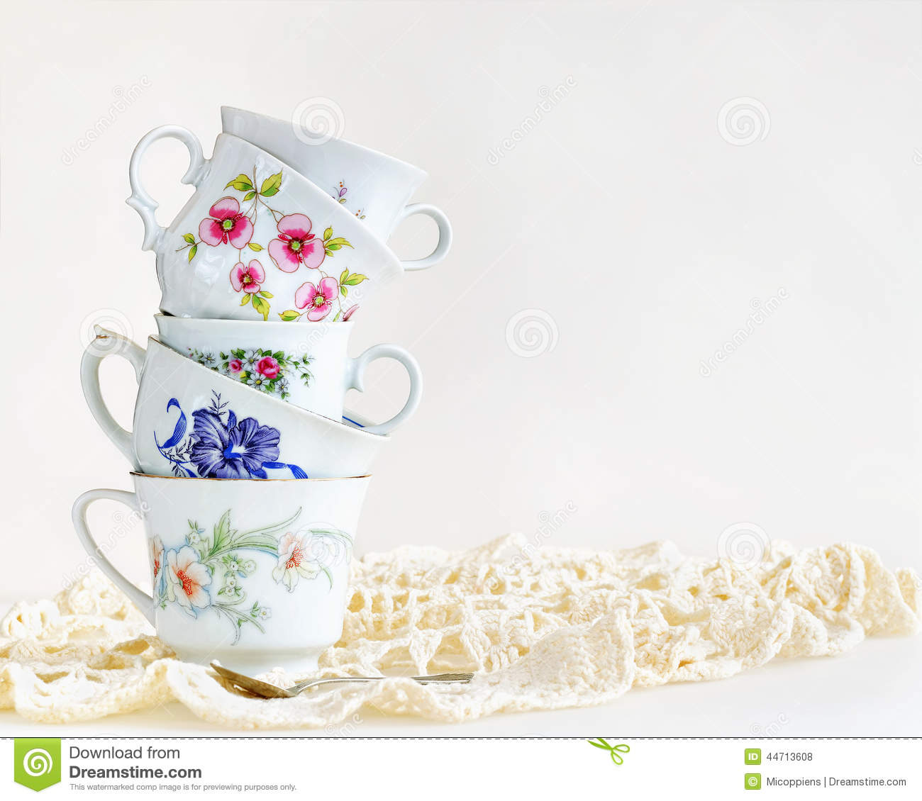 Stack of vintage tea cups stock photo. Image of gold - 44713608