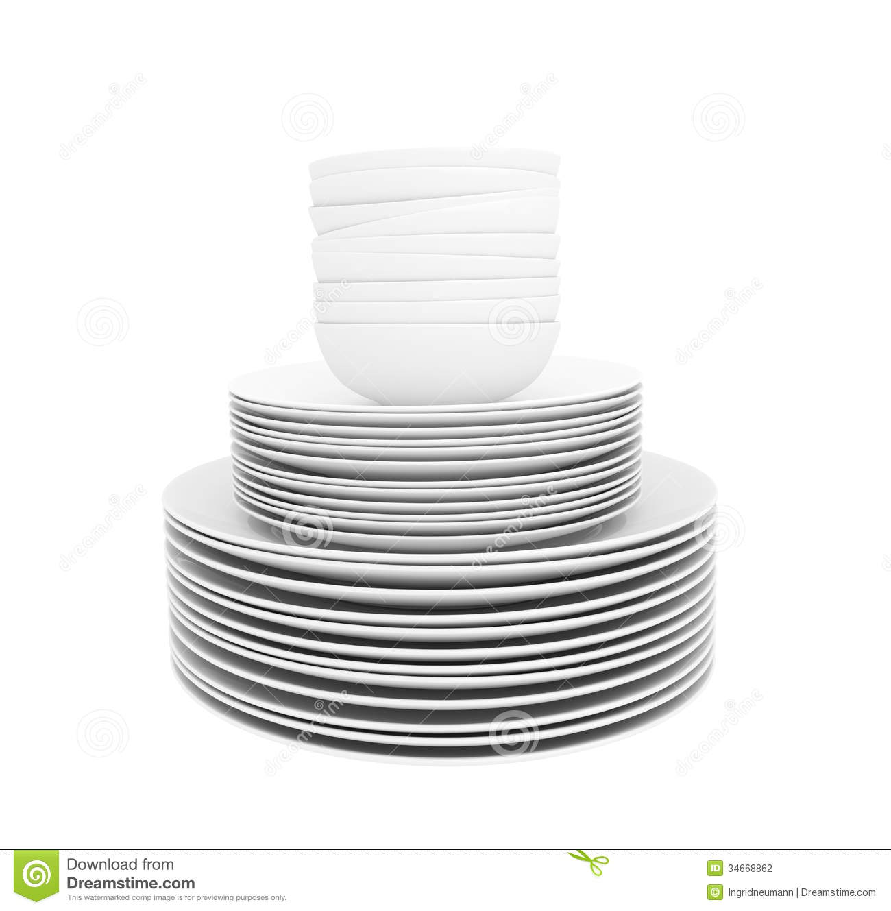 Stock Photography Stack White Dishes Soup Bowls Isolated White Clean Plates Background Image34668862 on table setting clip art