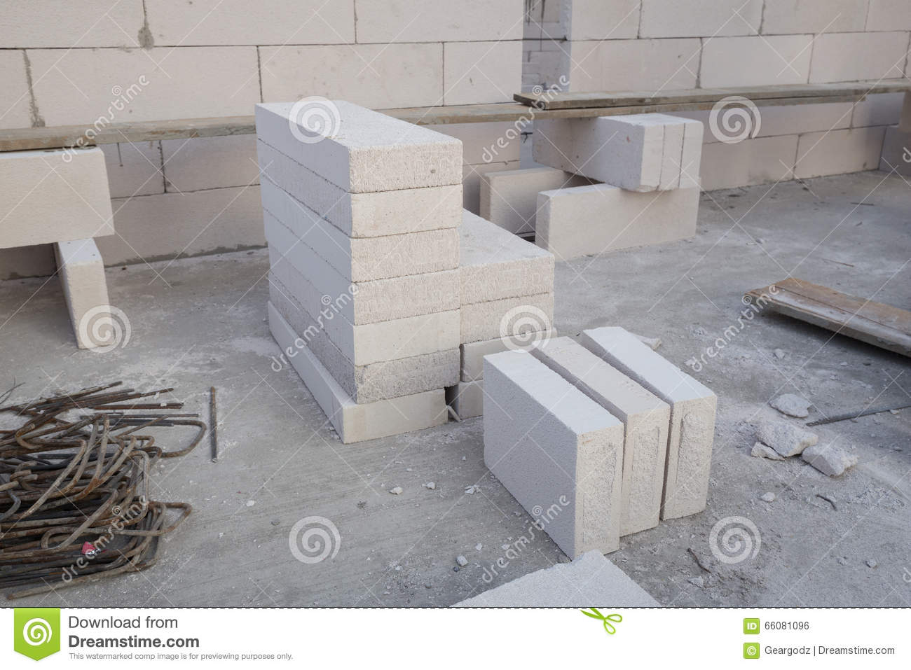 Stack Of White Lightweight Concrete Block Foamed Concrete