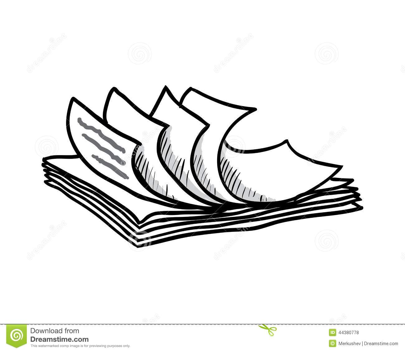 stack of white papers, hand drawn style, vector stock vector