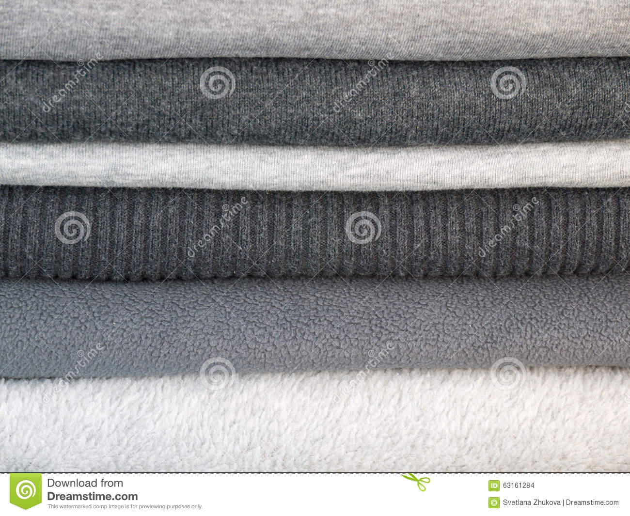 Stack Of Winter Gray Clothes Stock Photo Image 63161284