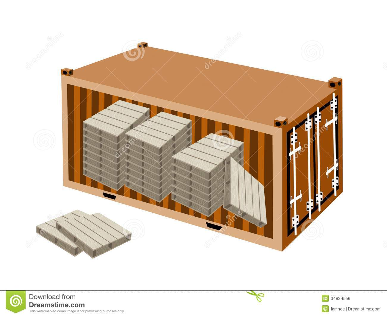 A stack of wood pallets in cargo container royalty free for Container en