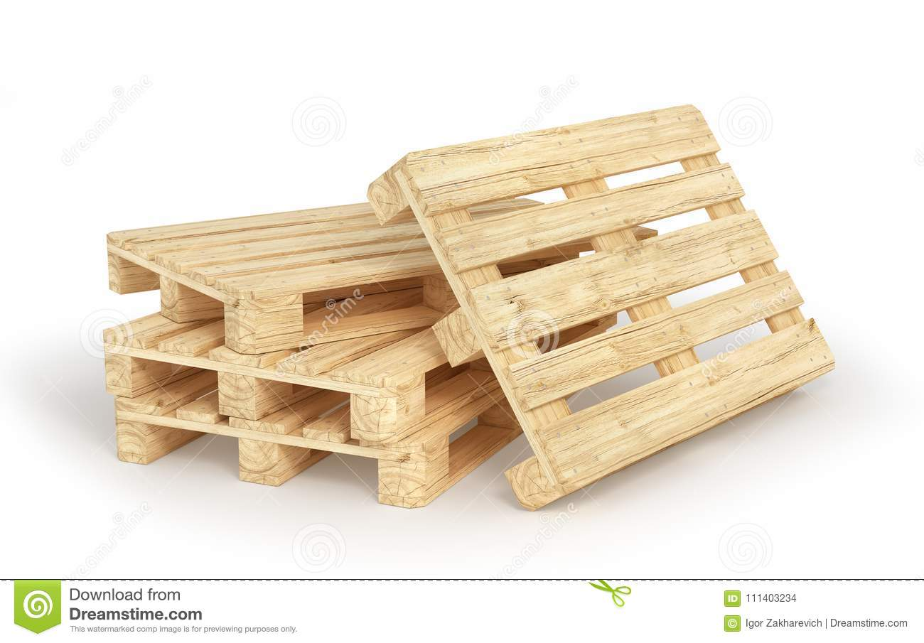 Stack Of Wood Pallets Isolated On A White  3d Stock Photo