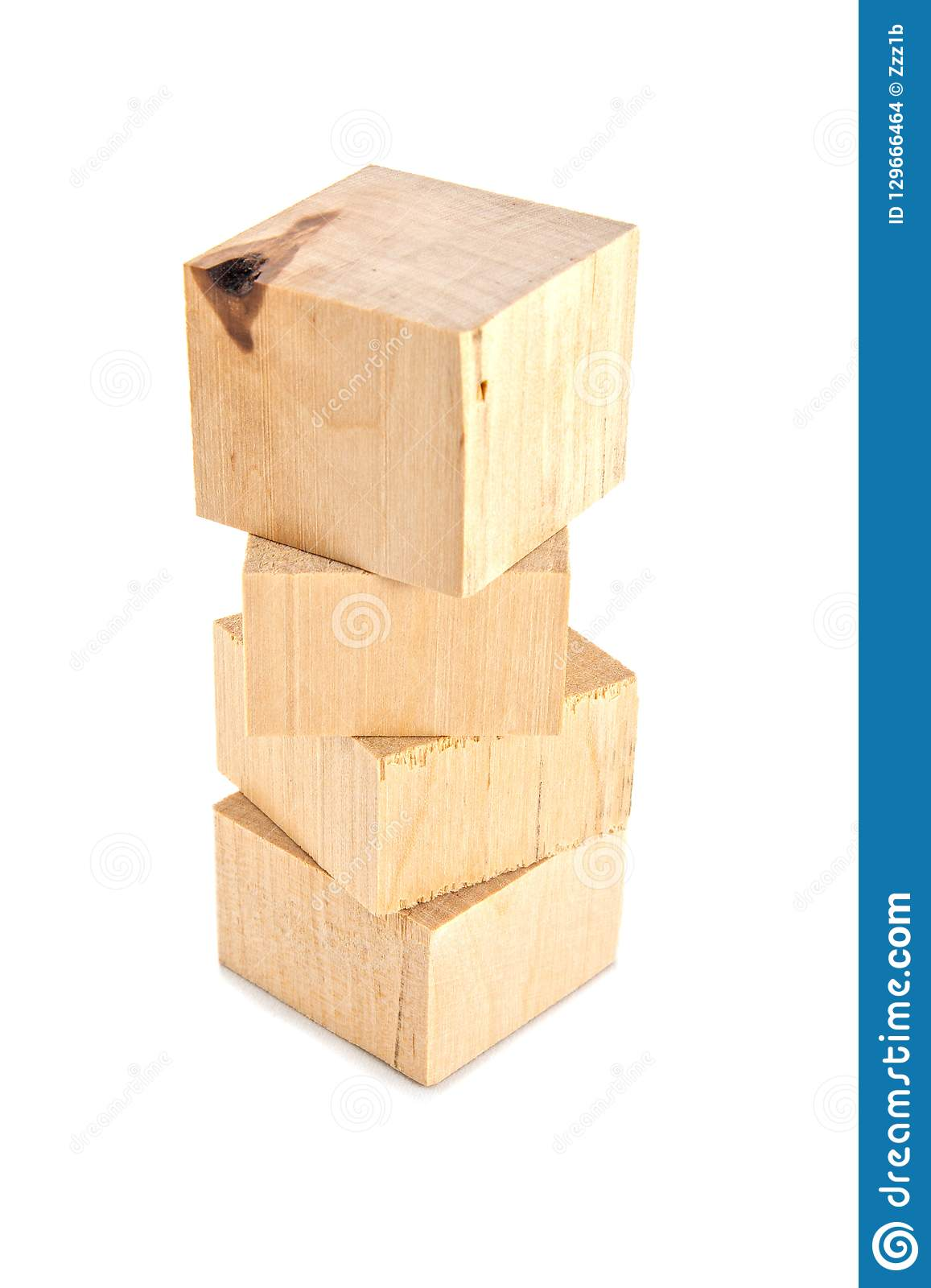 Stack Of Wooden Bricks Or Leftoovers Isolated On White