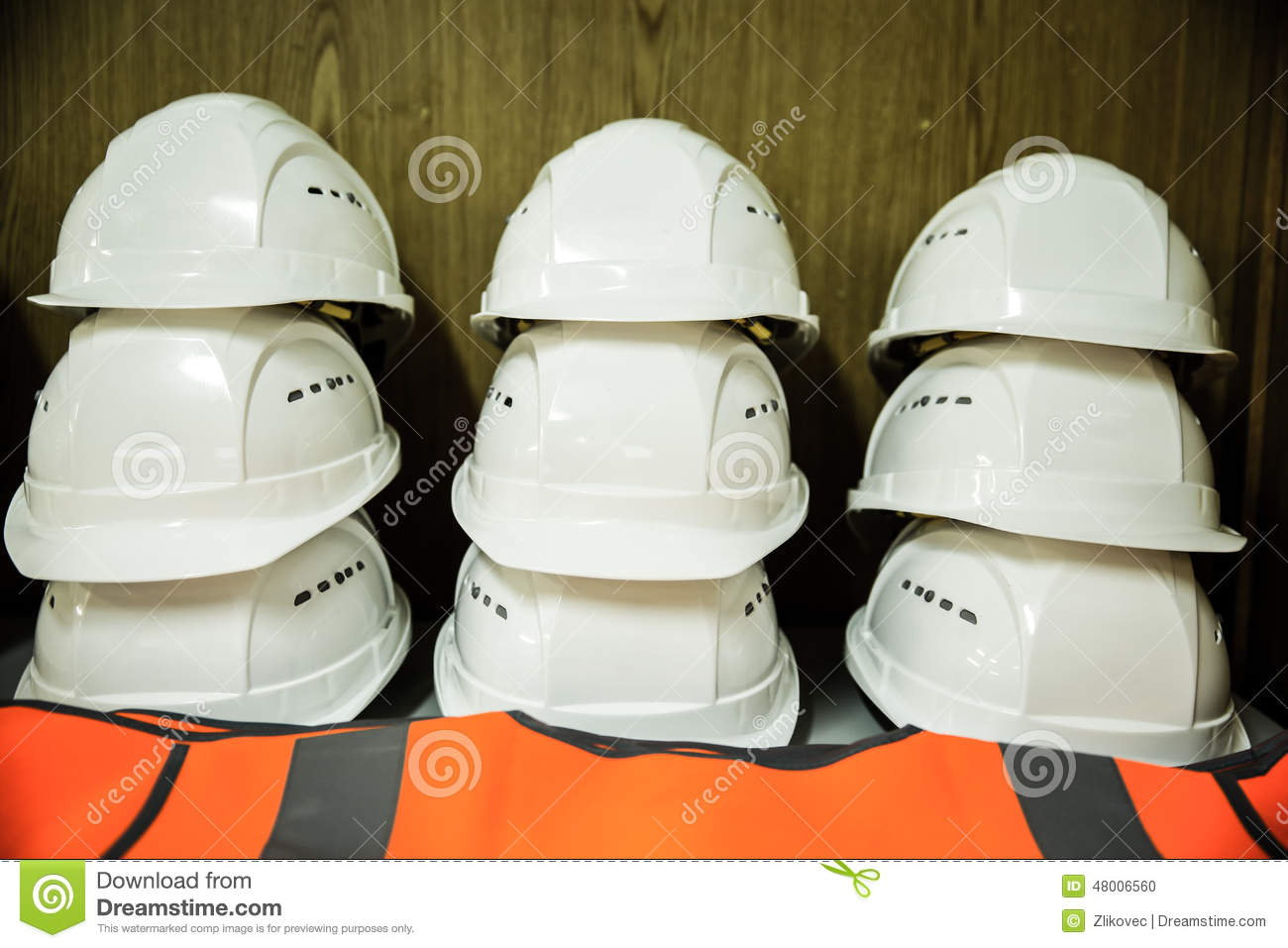 Stack of workers' helmets stock photo. Image of blue ...