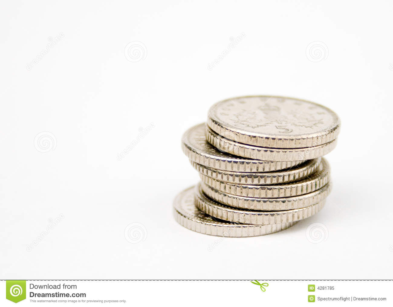 Stacked 5 pence coins