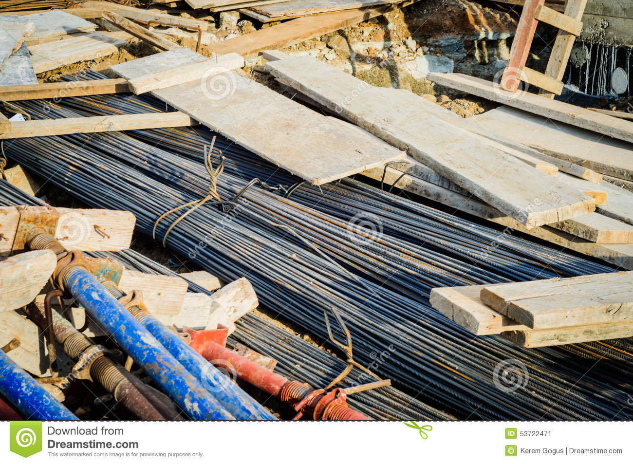 Building Materials Product : Stacked building materials on a construction area stock