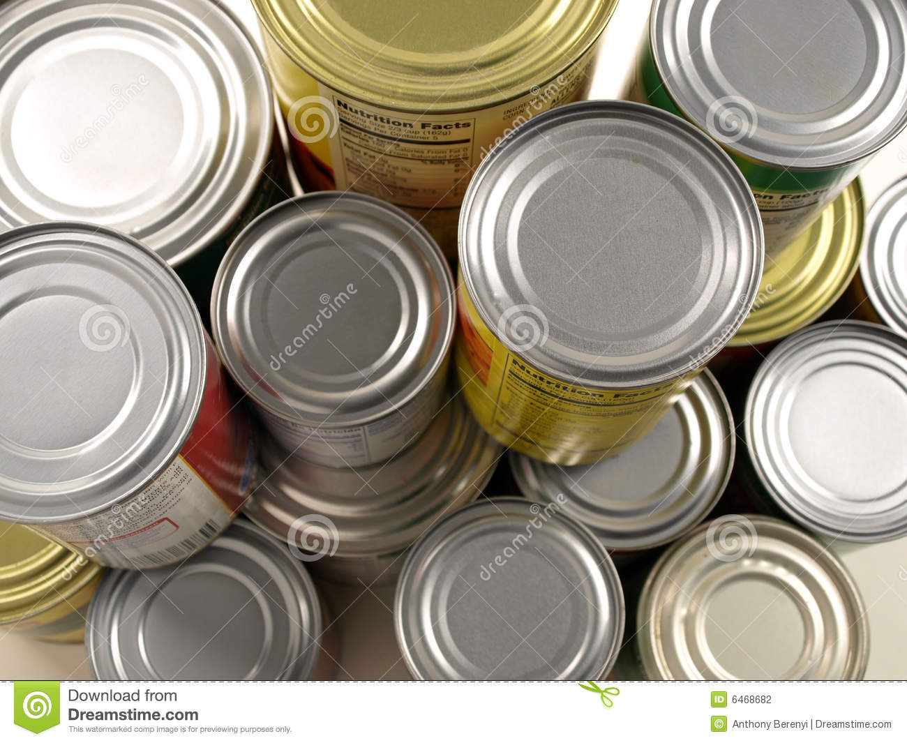 Stacked food cans