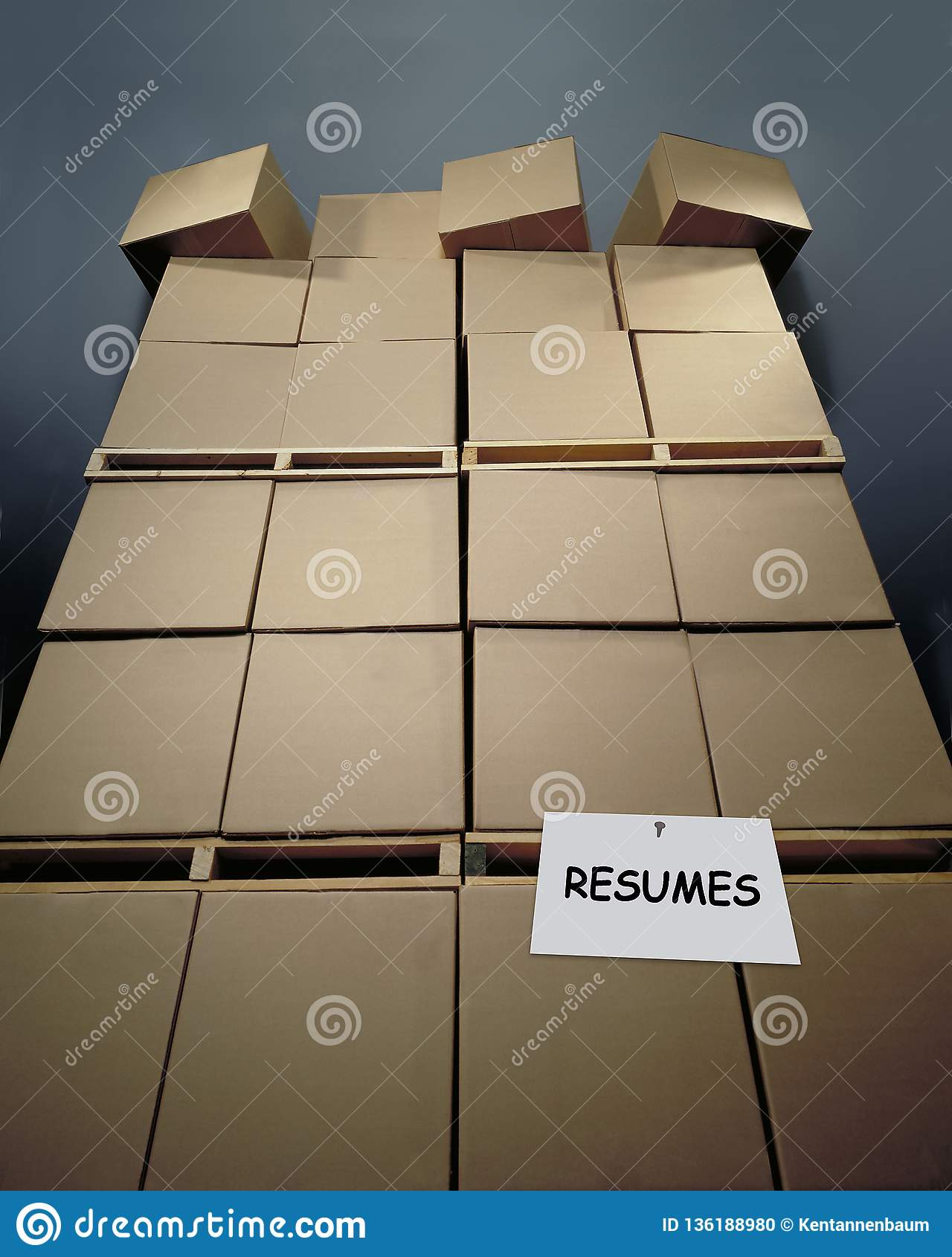 Stacked cartons of resumes