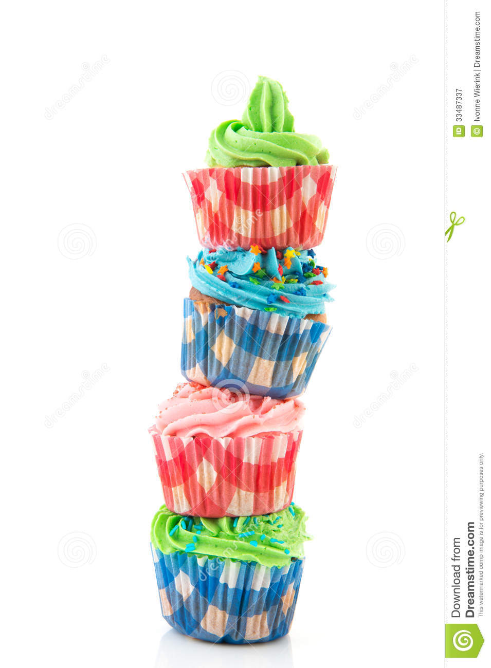 Stacked Cupcakes Stock Image Image Of Birthday Blue