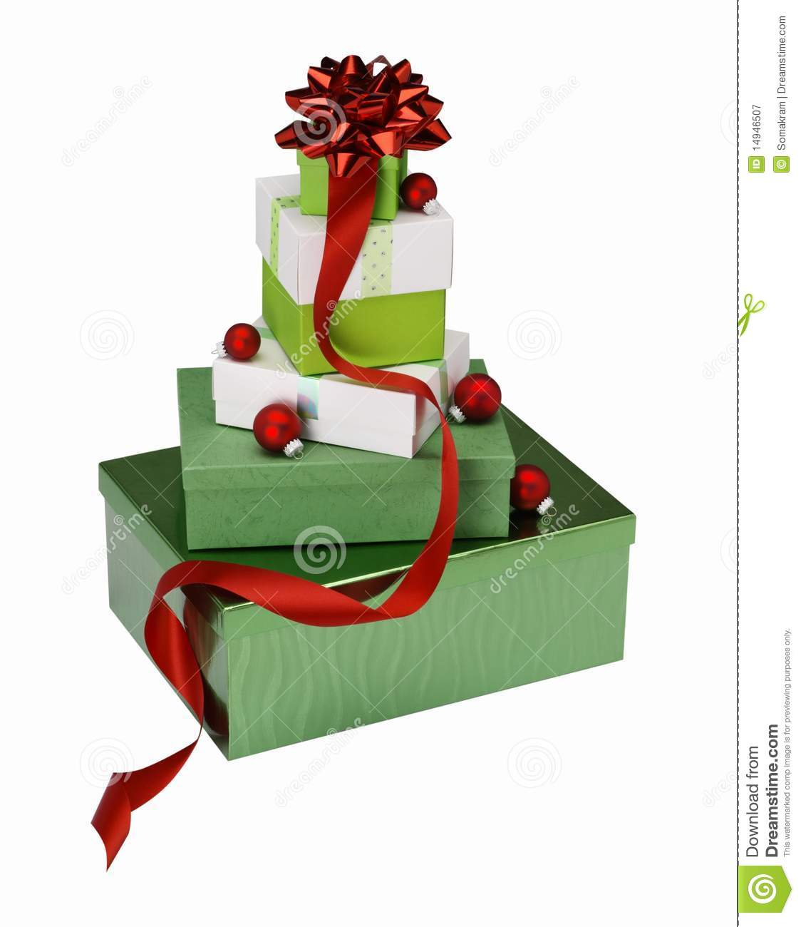 Stacked christmas gift boxes stock image