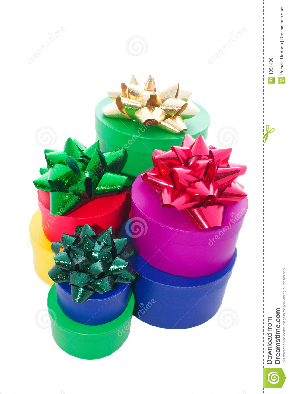 Stacked gift boxes and bows stock photo image