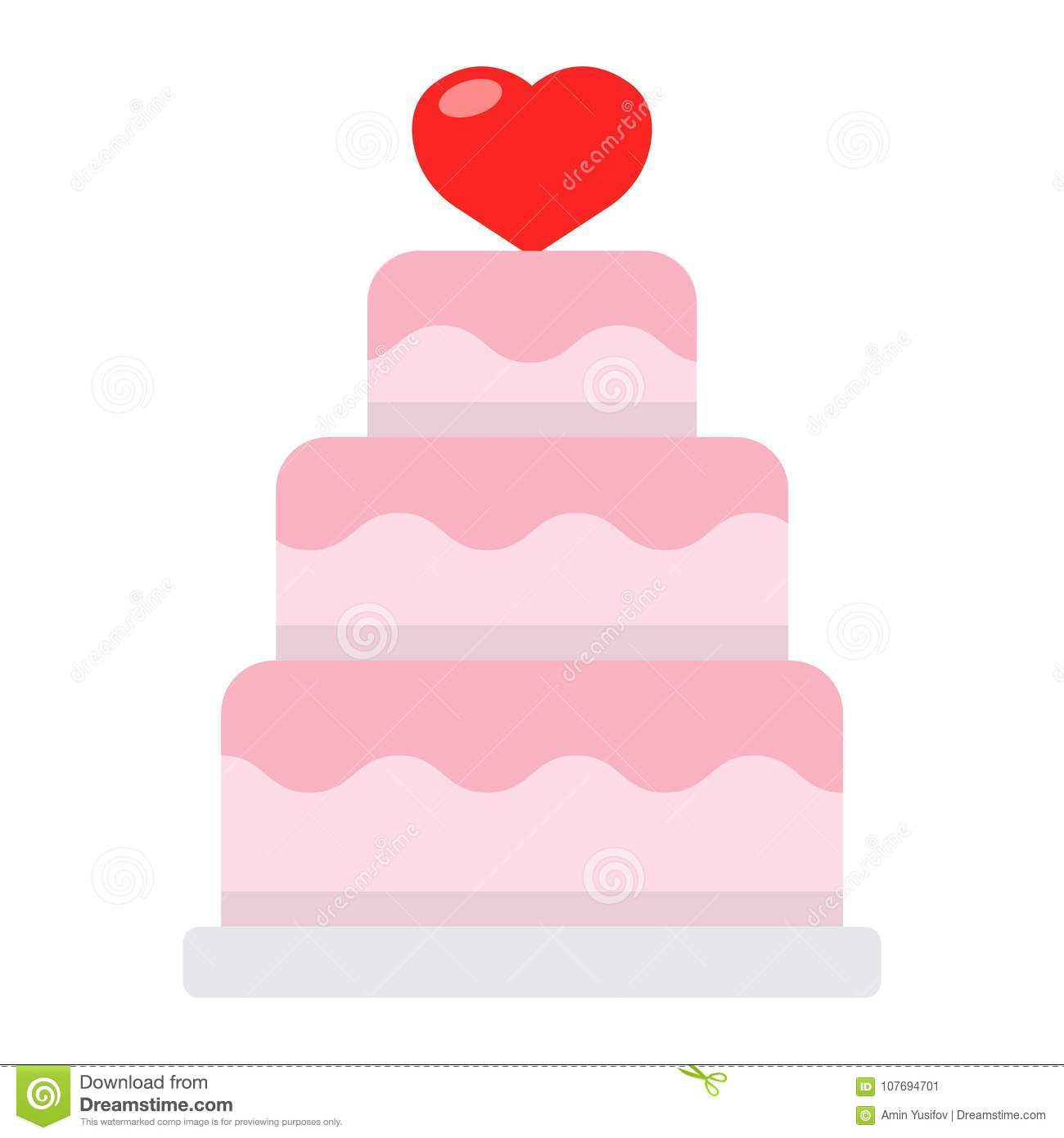 Stacked Love Cake Flat Icon Valentines Day Stock Vector