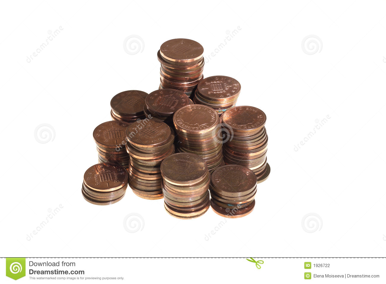 Stacked one pence coins