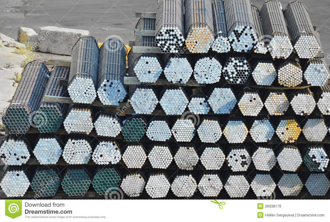 Stacked steel pipe royalty free stock photography