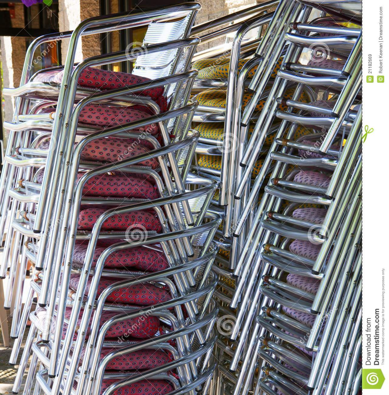 Stacked restaurant chairs