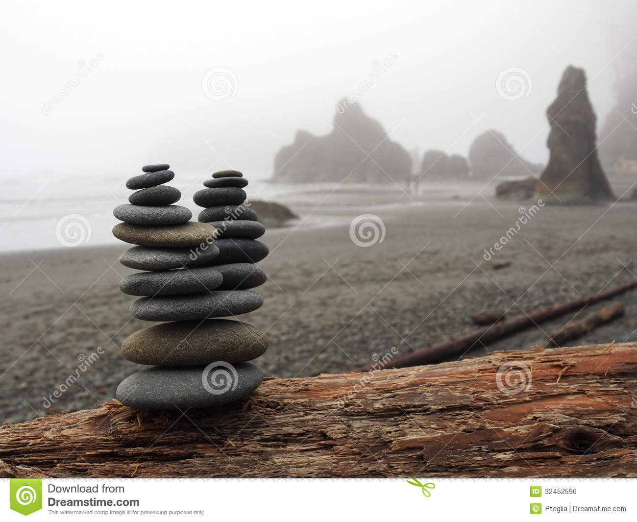 Stacked Rocks On A Foggy Ruby Beach Stock Photo Image Of