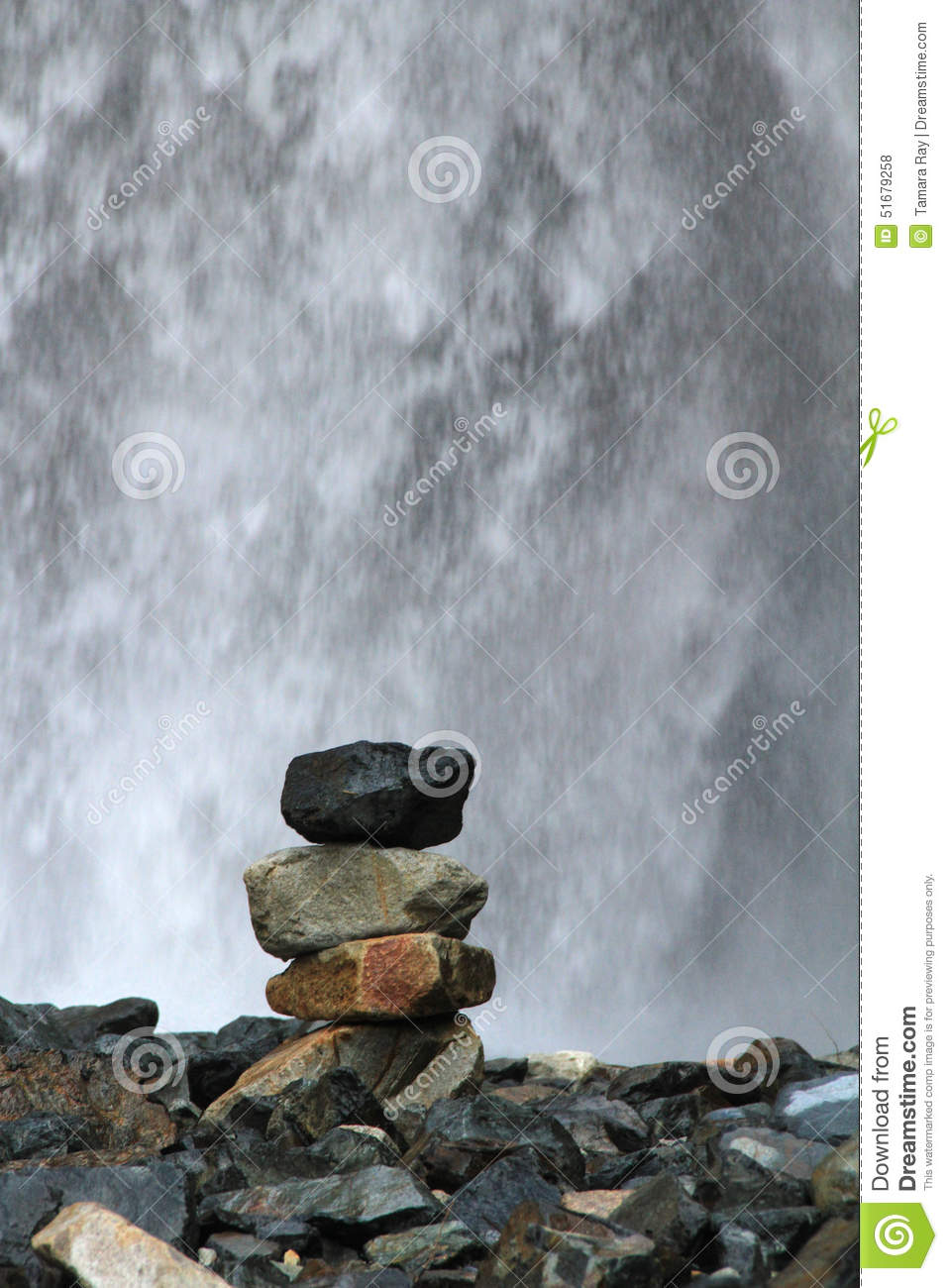 Stacked Rocks In Front Of Waterfall Stock Photo - Image of