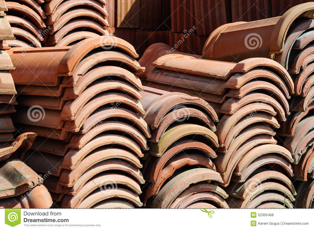 Stacked Shingles On A Construction Area Stock Photo