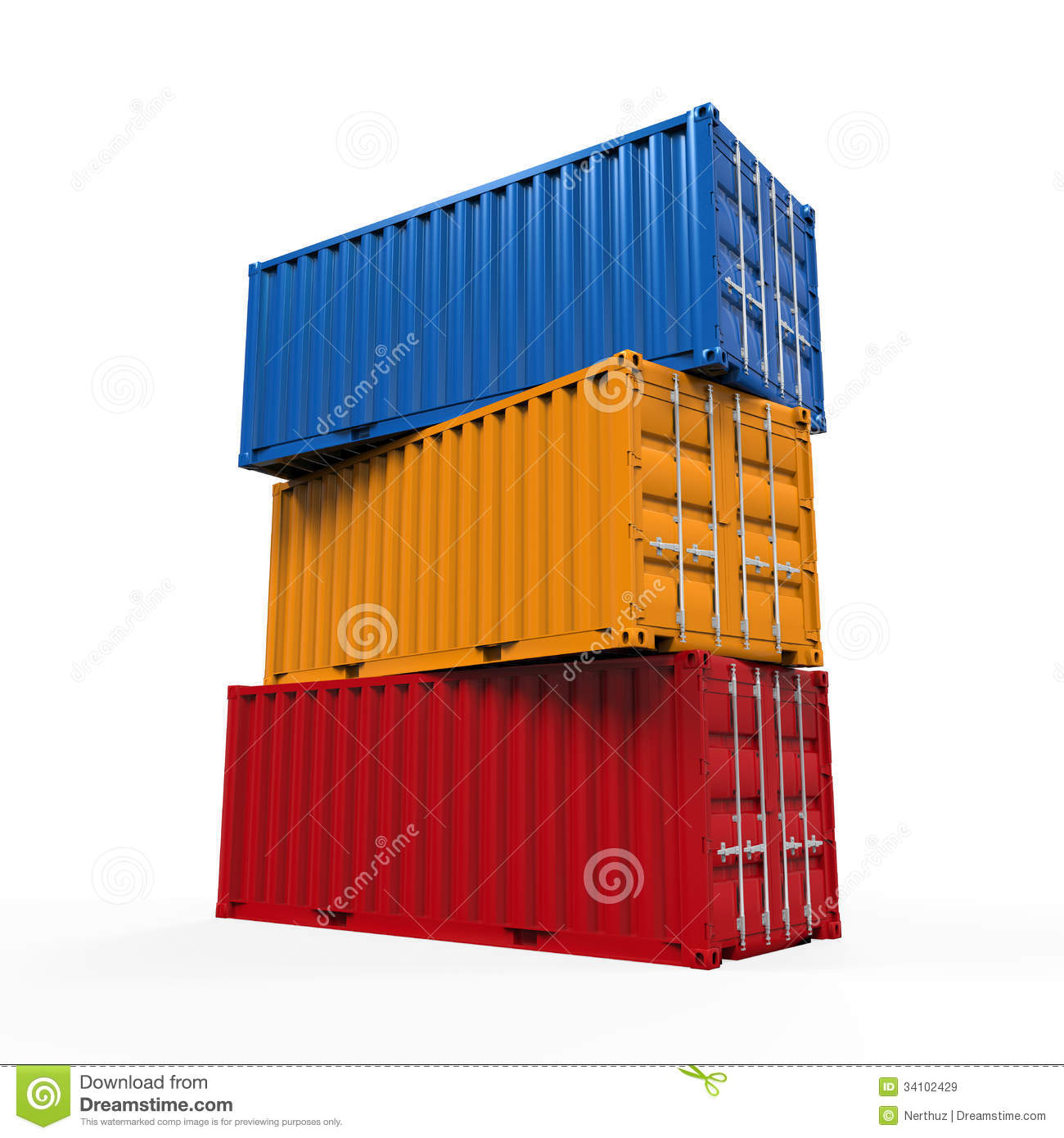 background container isolated render shipping stacked ...