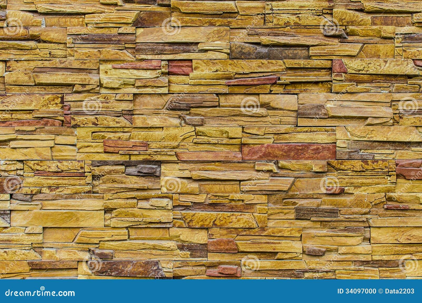 Stacked Slate Stone Wall Stock Photo Image 34097000