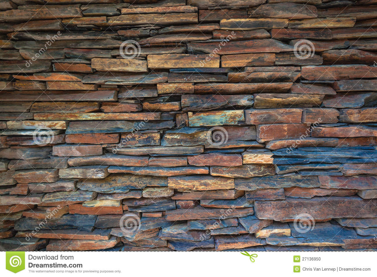 Stacked Stone Slate Wall Stock Photo - Image: 27136950
