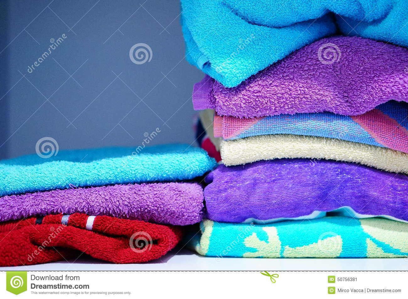 Stacked towels stock image. Image of shelf, stacked, towels - 50756381