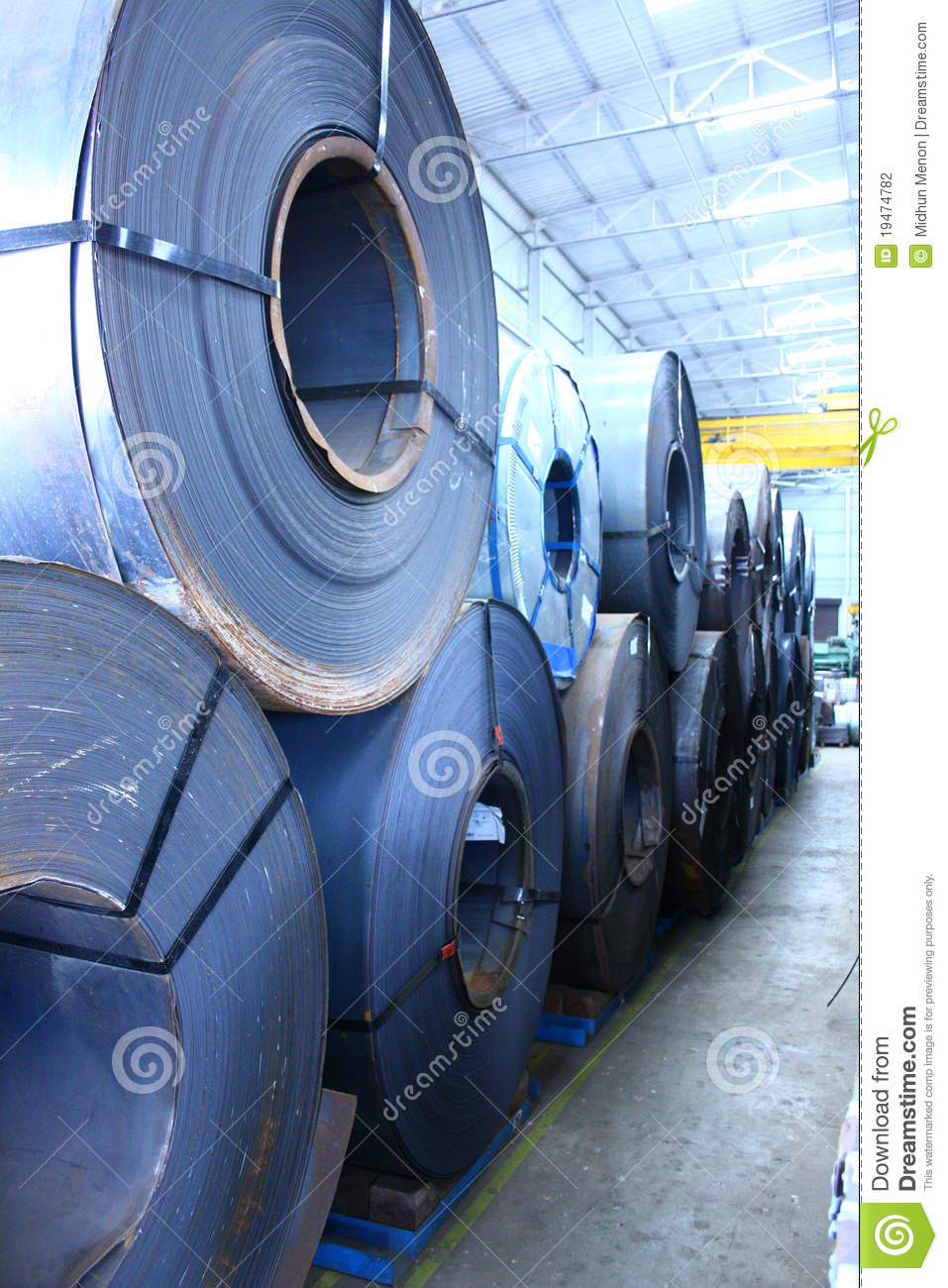 Stacked Up Hot Rolled And Cold Rolled Steel Coils Stock