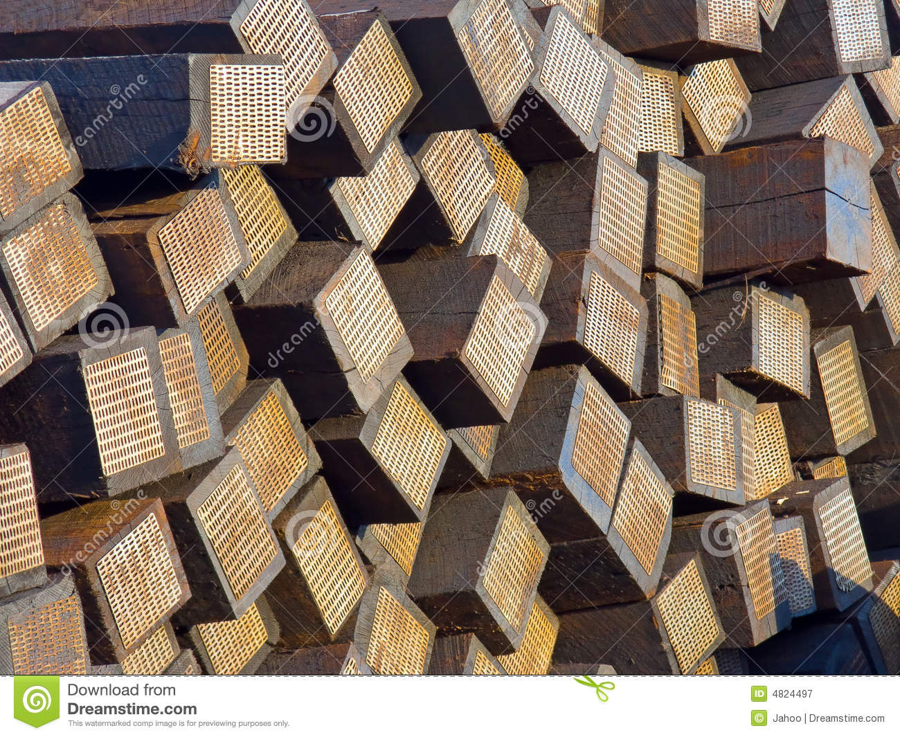 Stacked Used Railroad Sleepers/ties Stock Image - Image of pile