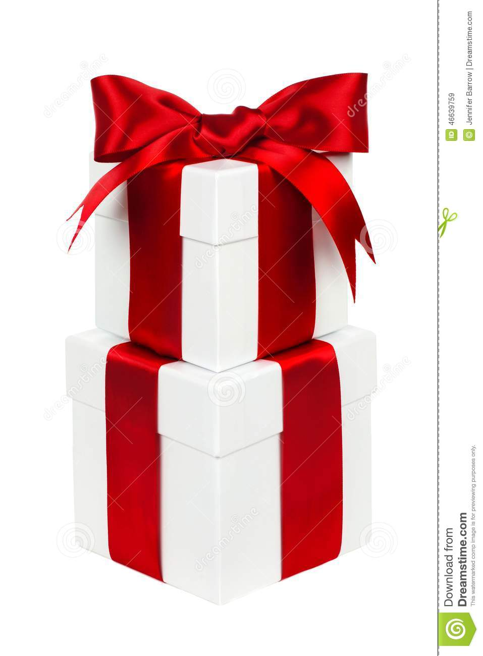 Stacked white and red christmas gift boxes isolated stock