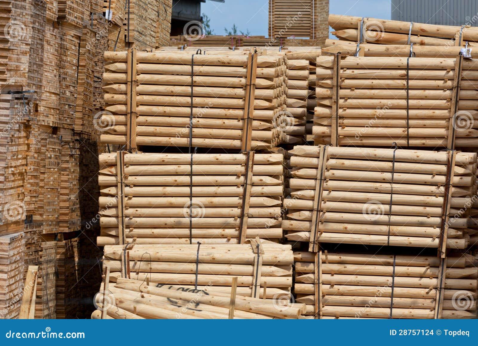 Stacked Wood Fence Pillars stock photo. Image of lumber ...