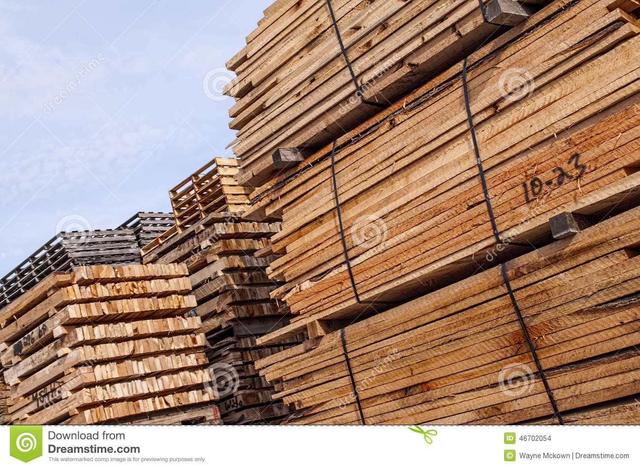 Stacked Wood Pallet Material Stock Photo - Image of ...