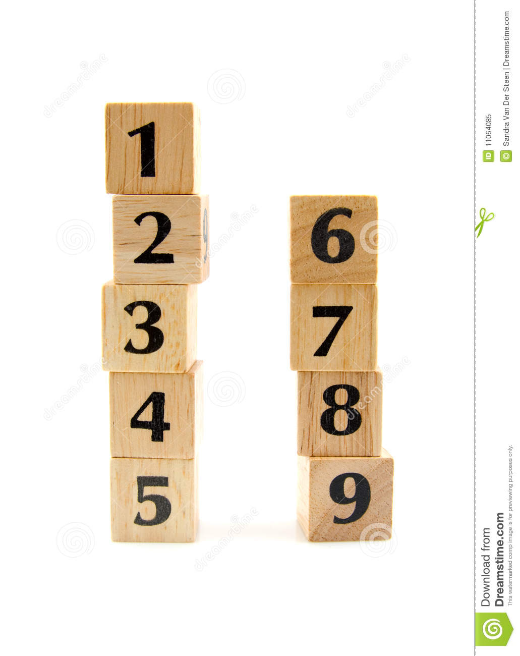 Stacked Wooden Blocks With Numbers Royalty Free Stock