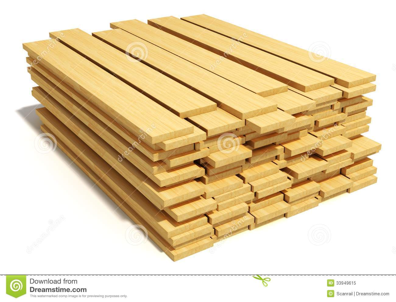 Timberwork, lumber work and woodwork industry concept: stacks of ...