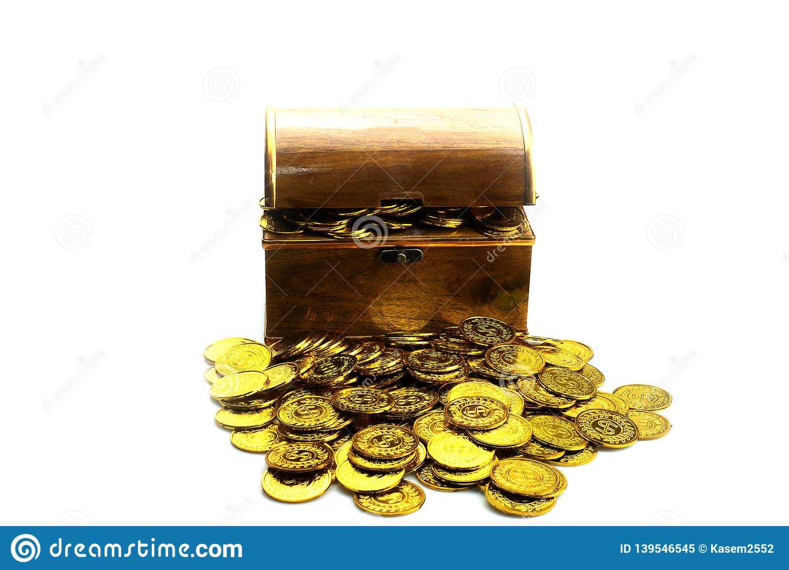 Gold Coin in treasure chest on white background