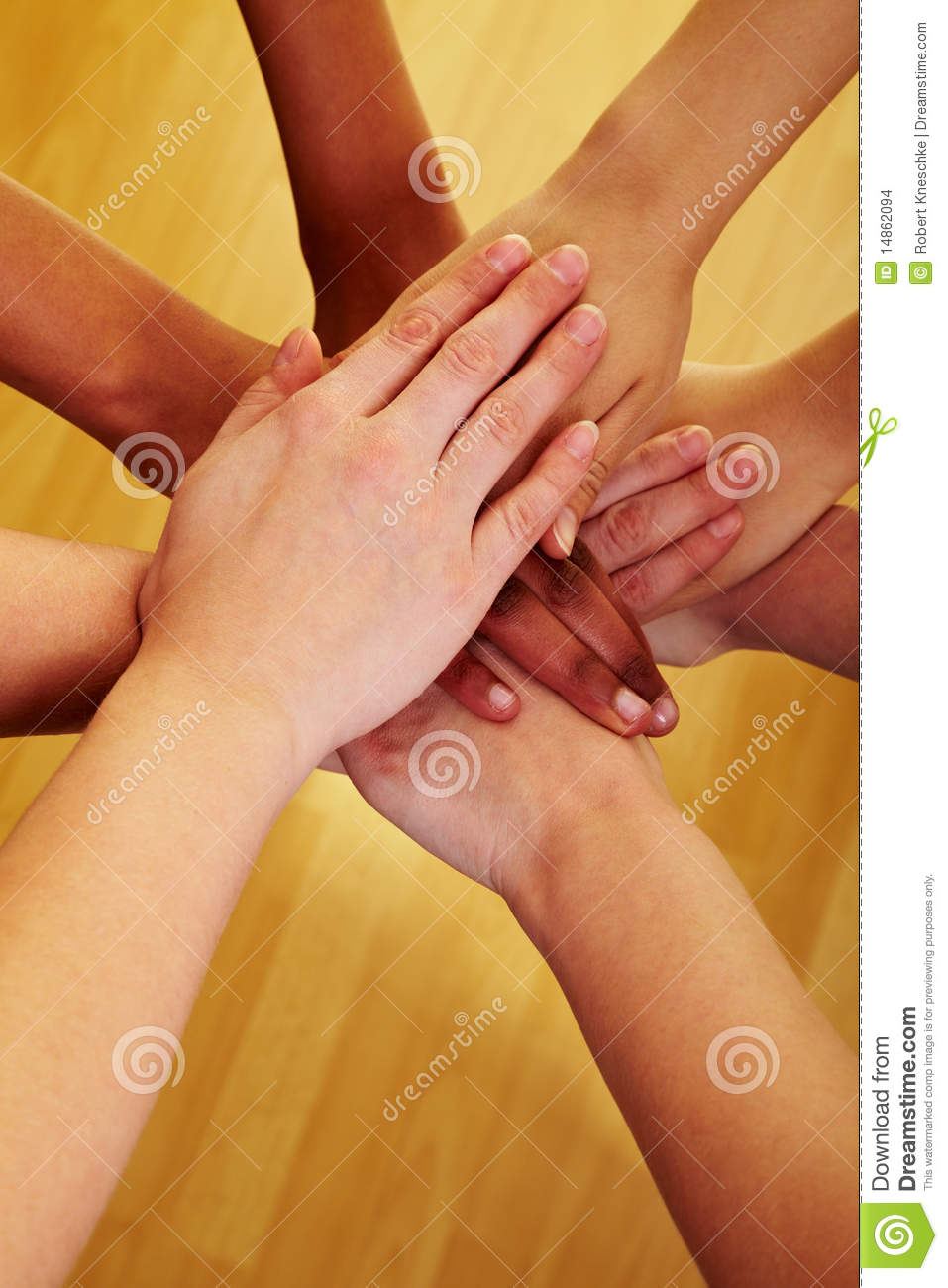 Stacking hands together