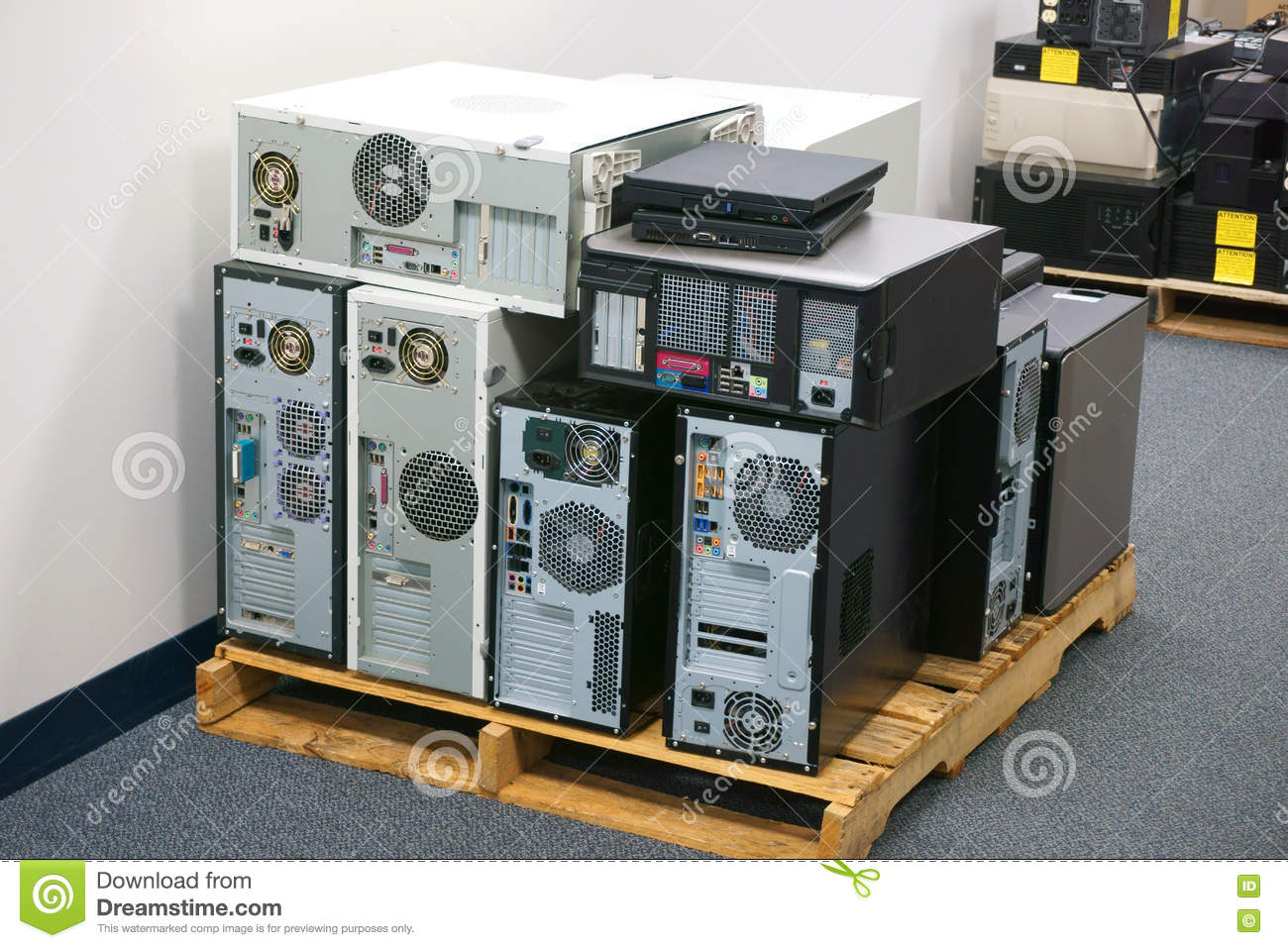 Stacking obsolete computers and workstations