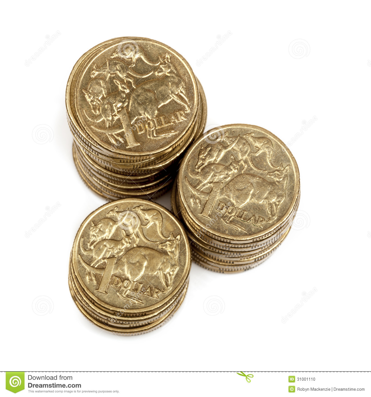 Stacks Of Australian One Dollar Coins Stock Photo Image