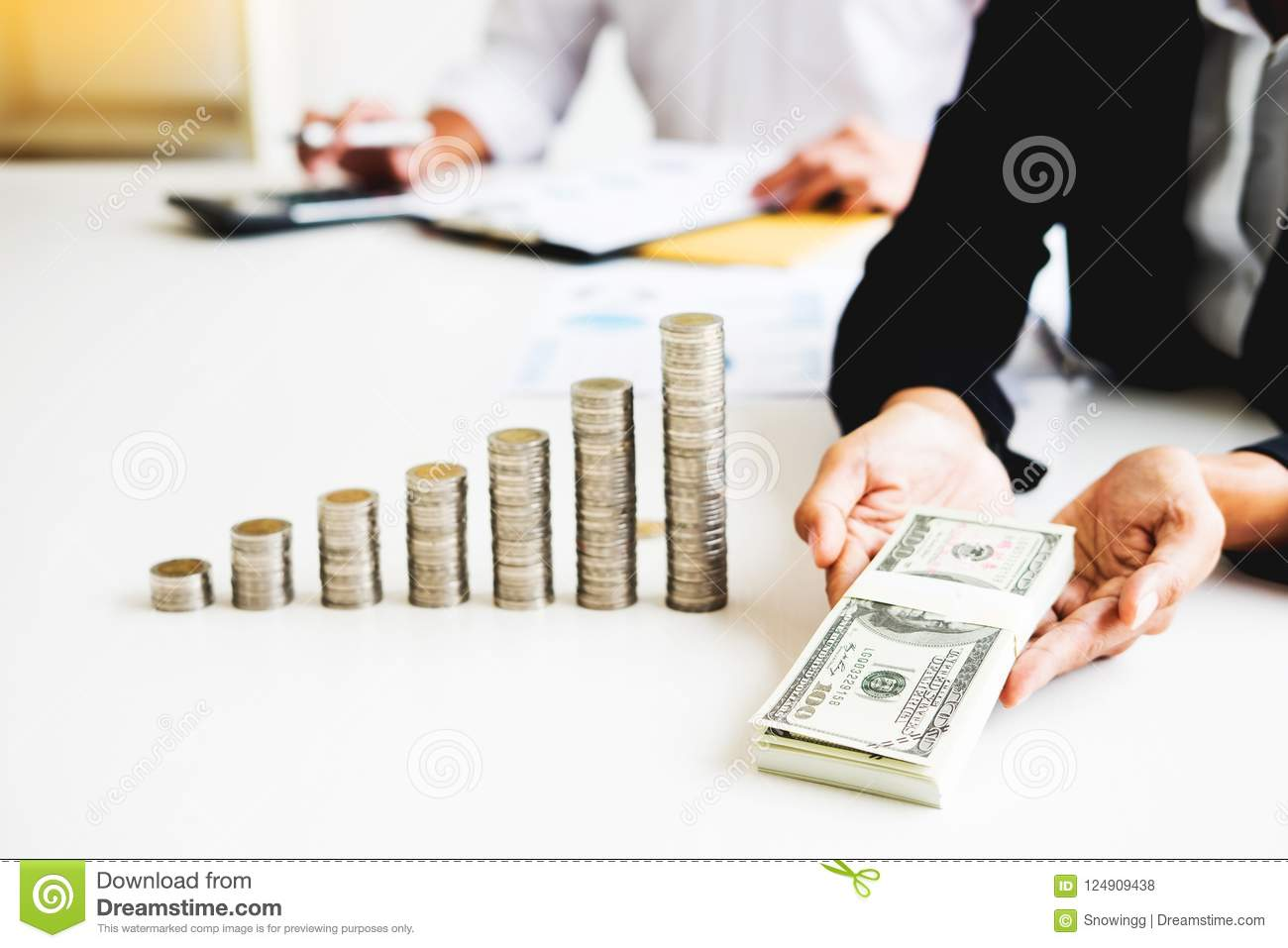 Stacks Of Coins Business Accounting With Saving Money Concept C ...
