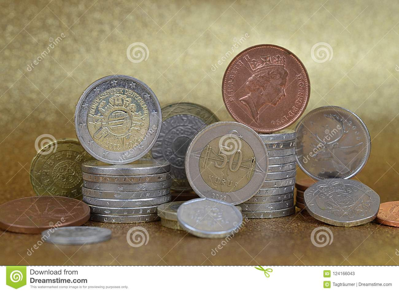 Stacks of coins from different nations
