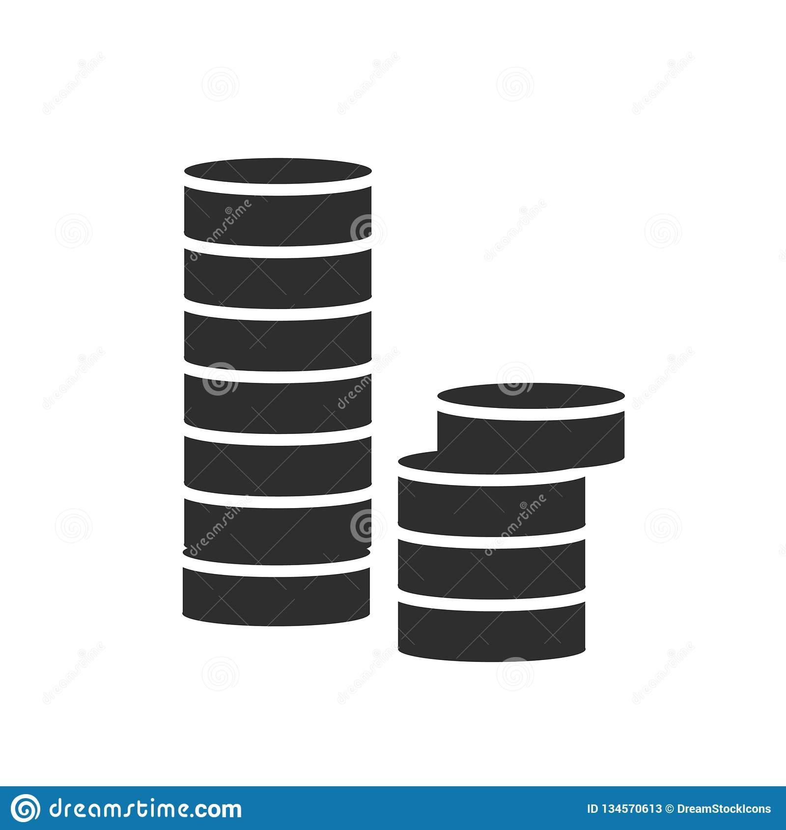 Stacks of coins icon vector sign and symbol isolated on white background, Stacks of coins logo concept