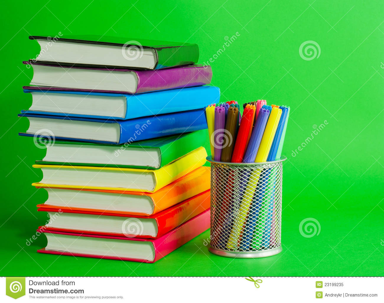 Stacks Of Colorful Books And Socket With Felt Pens Stock