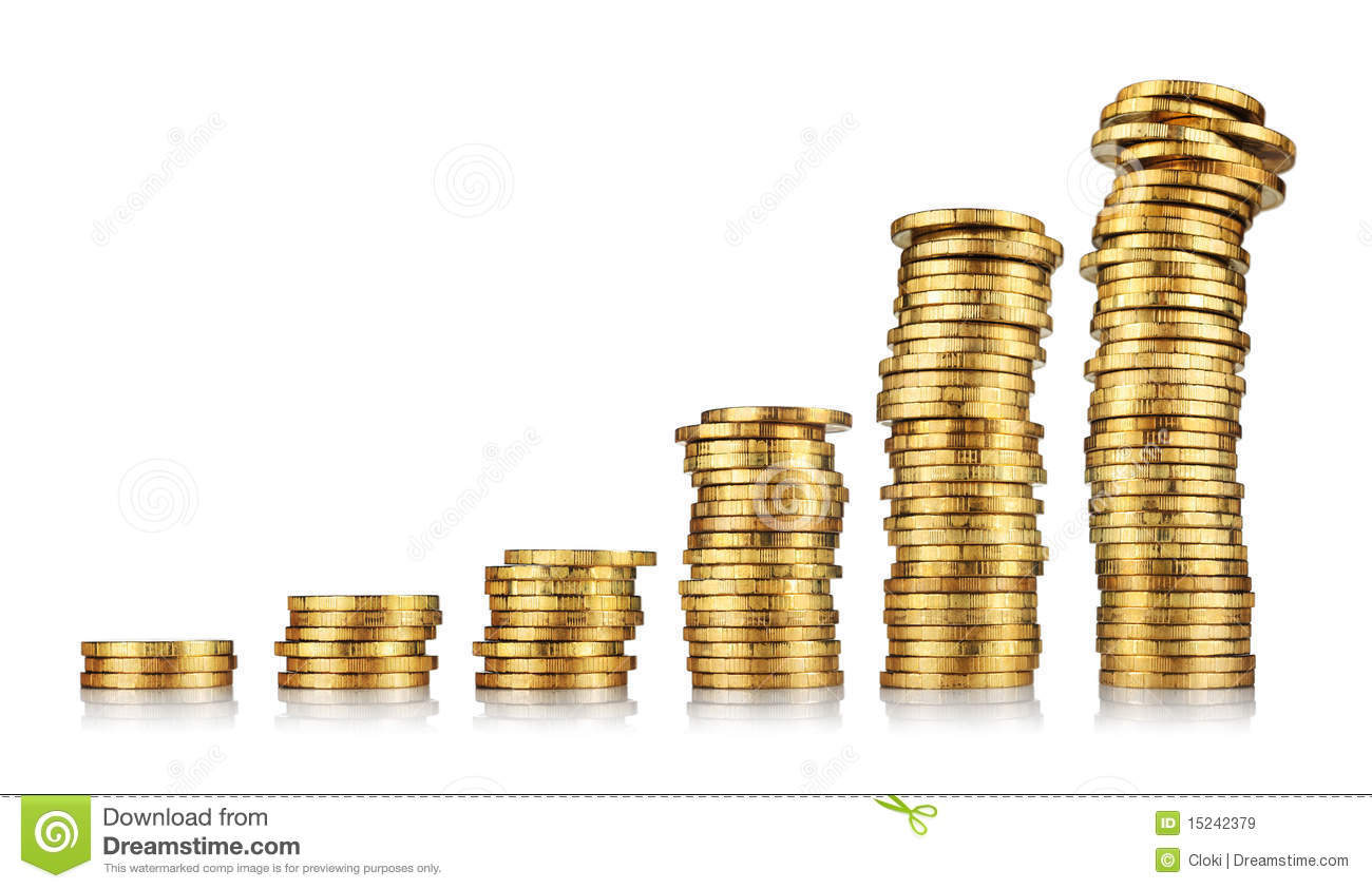 Stacks Of Gold Coins Royalty Free Stock Images Image