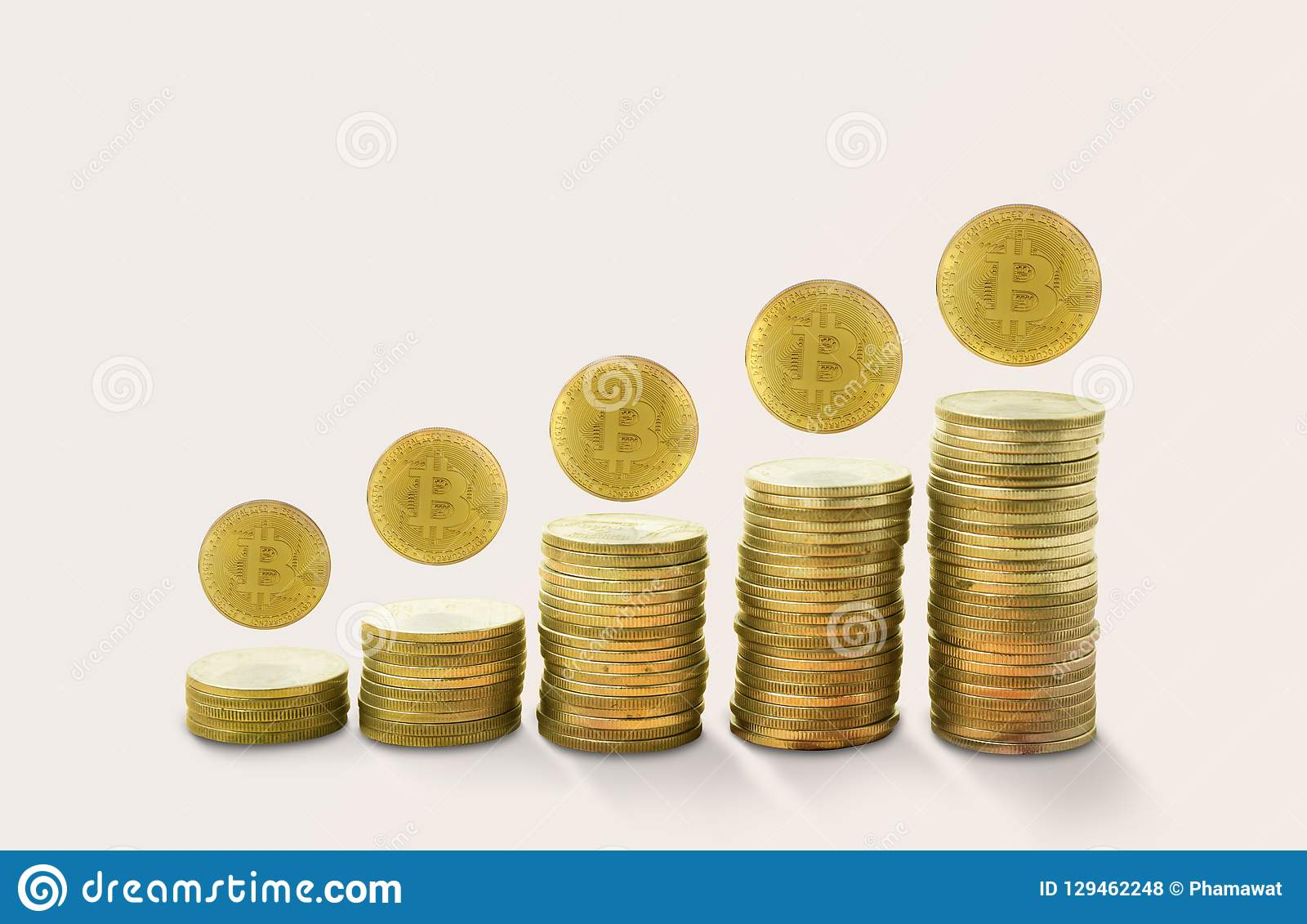 Stacks of gold coins income with bitcoin. concept growing golden