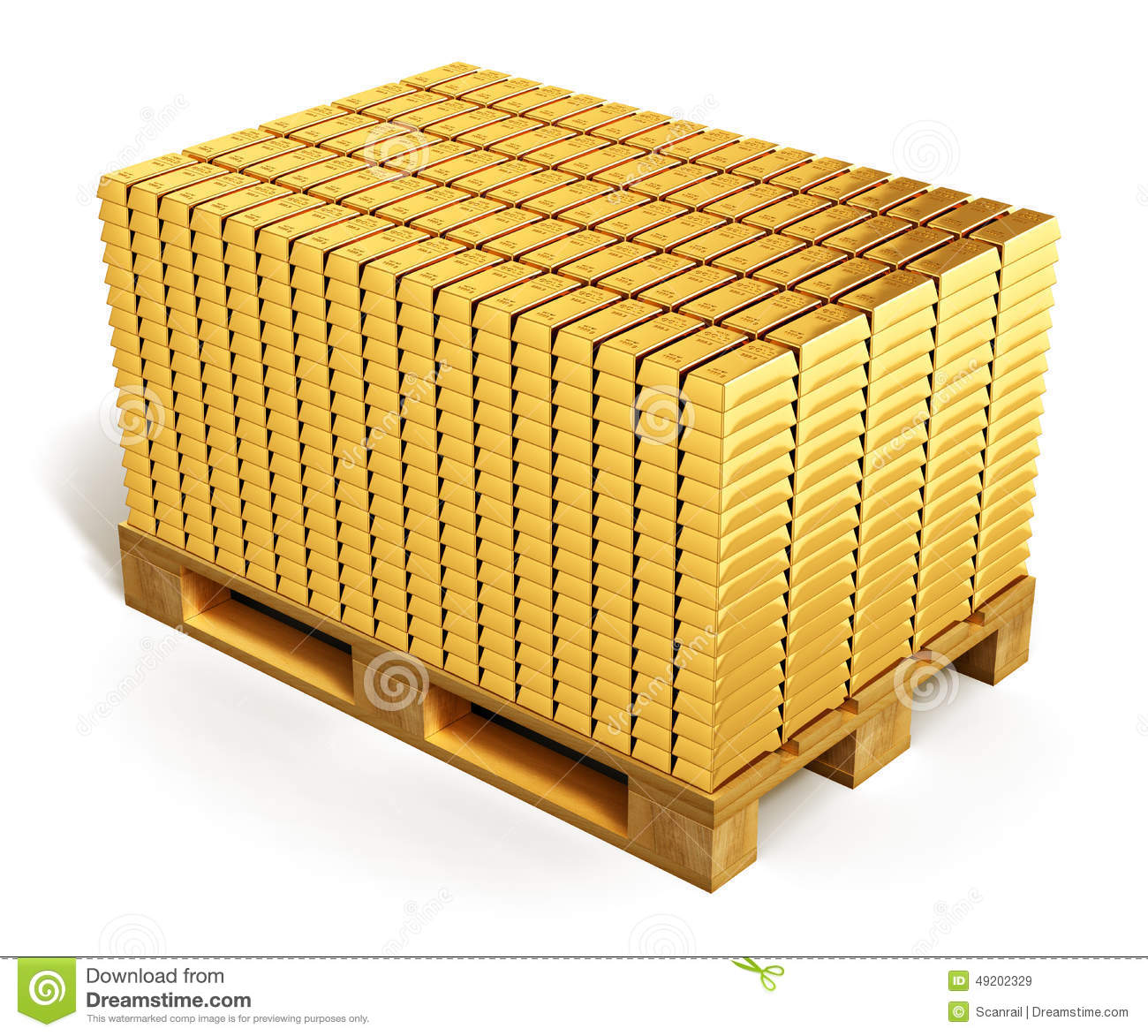 Stacks Of Gold Ingots On Shipping Pallet Stock Illustration - Image ...