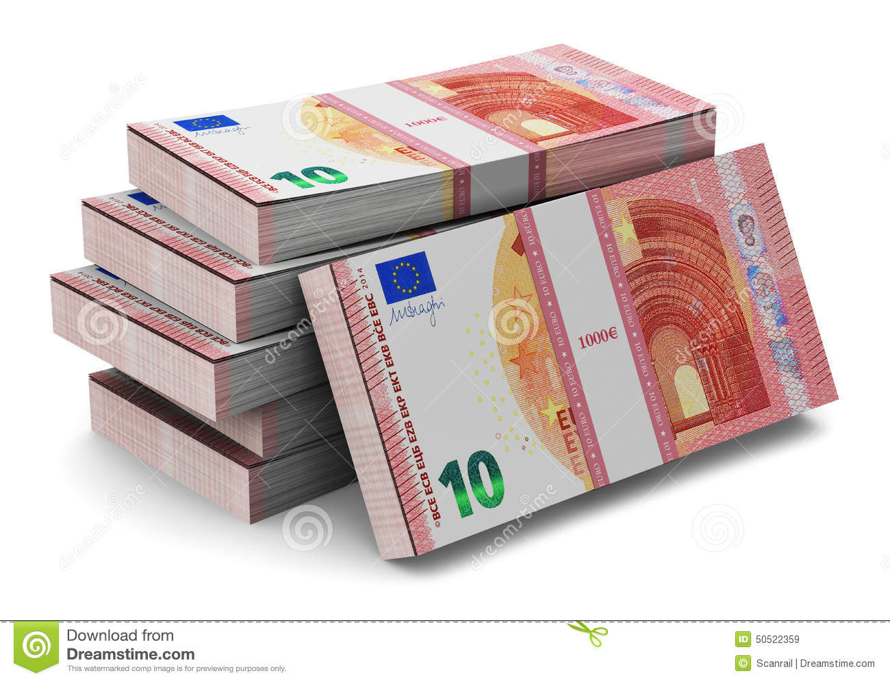 Stacks Of New 10 Euro Banknotes Stock Illustration - Image: 50522359