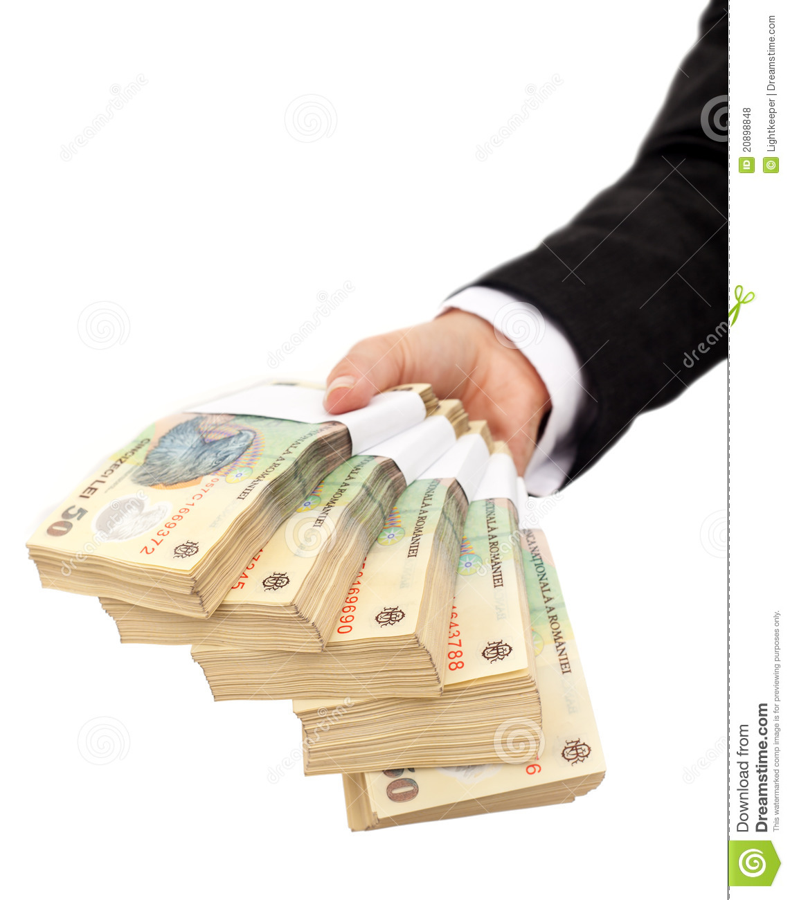 Stacks of romanian currency